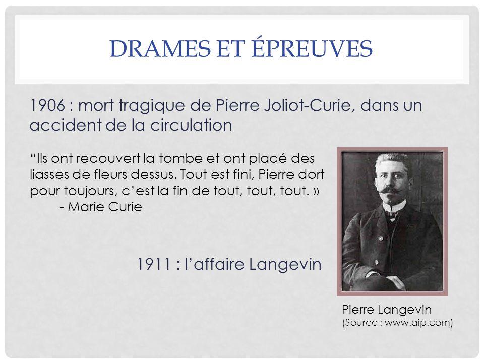 DRAMES ET ÉPREUVES 1906 : mort tragique de Pierre Joliot-Curie, dans un accident de la circulation 1911 : laffaire Langevin Pierre Langevin (Source :
