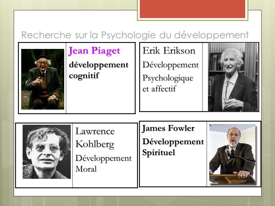 Recherche sur la Psychologie du développement Jean Piaget développement cognitif Erik Erikson Développement Psychologique et affectif Lawrence Kohlber