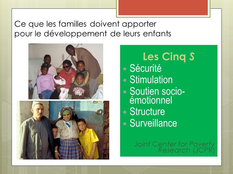 Ce que les familles doivent apporter pour le développement de leurs enfants Les Cinq S Sécurité Stimulation Soutien socio- émotionnel Structure Survei