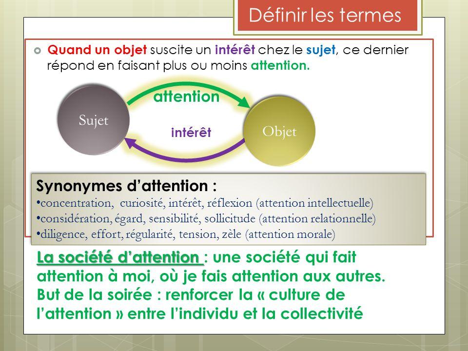 Définir les termes Quand un objet suscite un intérêt chez le sujet, ce dernier répond en faisant plus ou moins attention. Sujet Objet attention intérê