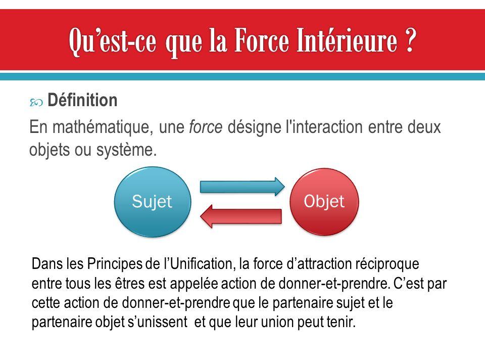 Définition En mathématique, une force désigne l interaction entre deux objets ou système.