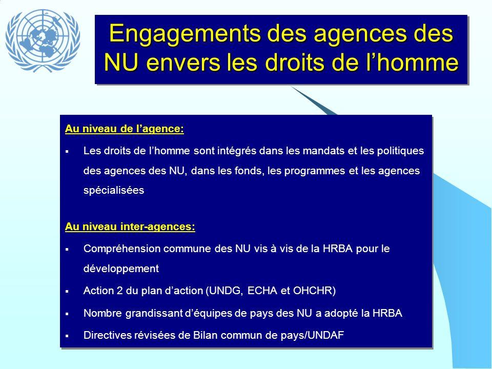 Engagements des agences des NU envers les droits de lhomme Au niveau de lagence: Les droits de lhomme sont intégrés dans les mandats et les politiques