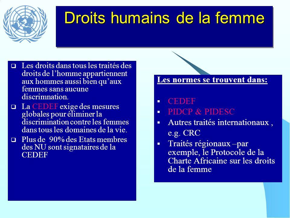 Les droits dans tous les traités des droits de lhomme appartiennent aux hommes aussi bien quaux femmes sans aucune discrimnation. La CEDEF exige des m