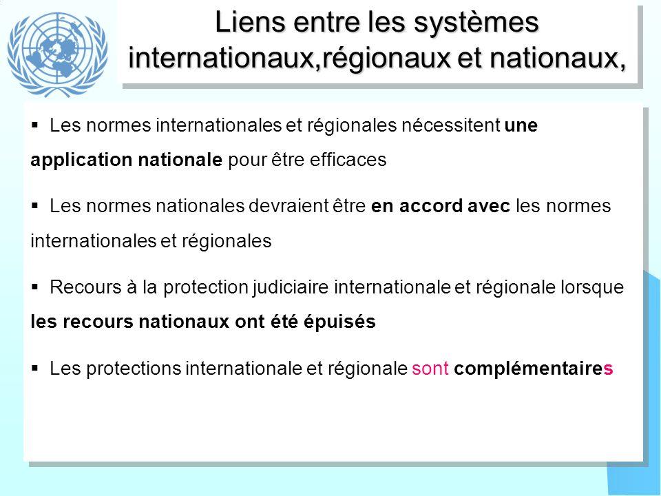 Liens entre les systèmes internationaux,régionaux et nationaux, Les normes internationales et régionales nécessitent une application nationale pour êt