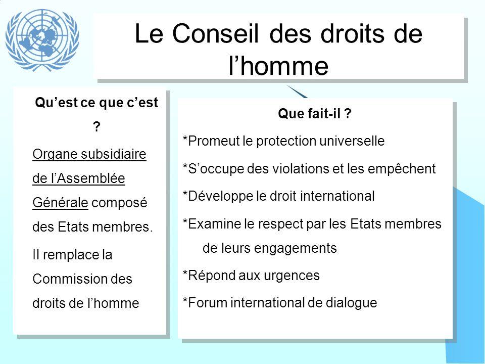 Le Conseil des droits de lhomme Que fait-il ? *Promeut le protection universelle *Soccupe des violations et les empêchent *Développe le droit internat