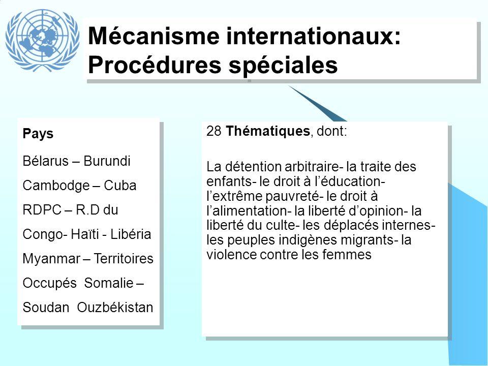 Mécanisme internationaux: Procédures spéciales Pays Bélarus – Burundi Cambodge – Cuba RDPC – R.D du Congo- Haïti - Libéria Myanmar – Territoires Occup