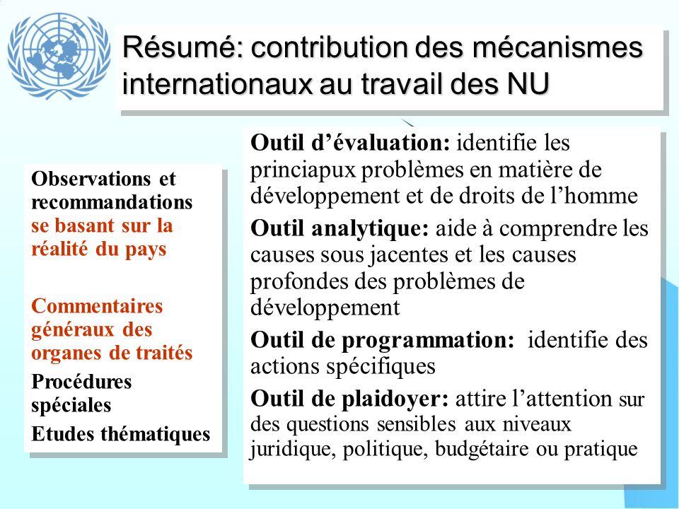Résumé: contribution des mécanismes internationaux au travail des NU Observations et recommandations se basant sur la réalité du pays Commentaires gén