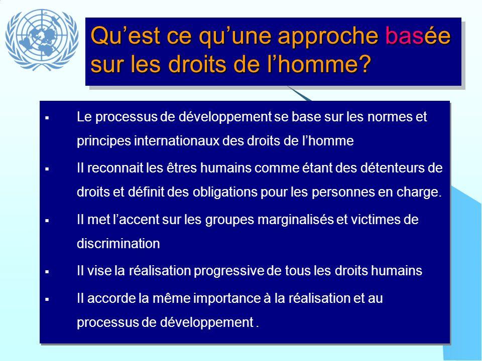 Le processus de développement se base sur les normes et principes internationaux des droits de lhomme Il reconnait les êtres humains comme étant des d