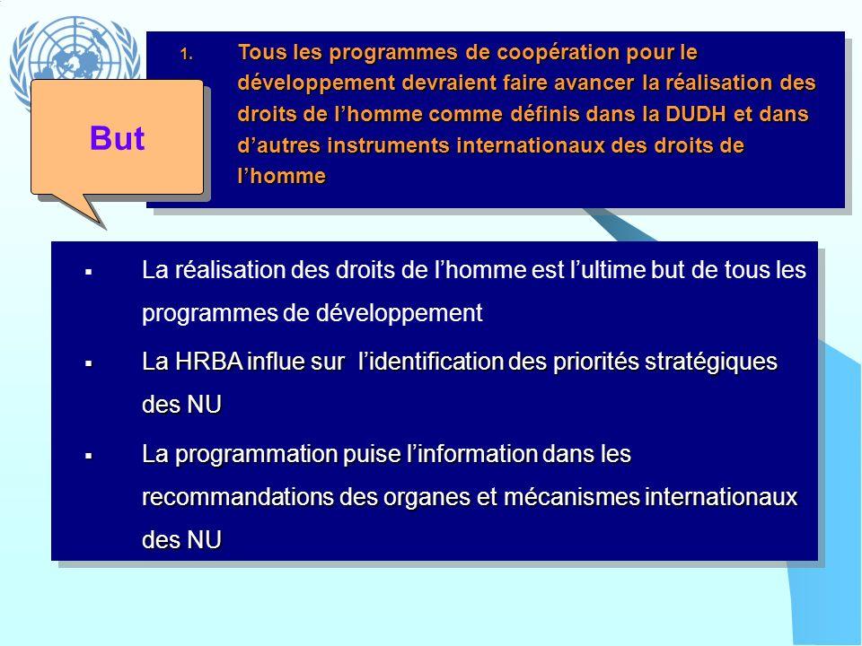 1. Tous les programmes de coopération pour le développement devraient faire avancer la réalisation des droits de lhomme comme définis dans la DUDH et