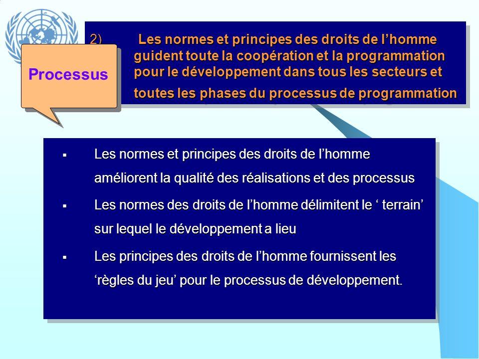 2) Les normes et principes des droits de lhomme guident toute la coopération et la programmation pour le développement dans tous les secteurs et toute