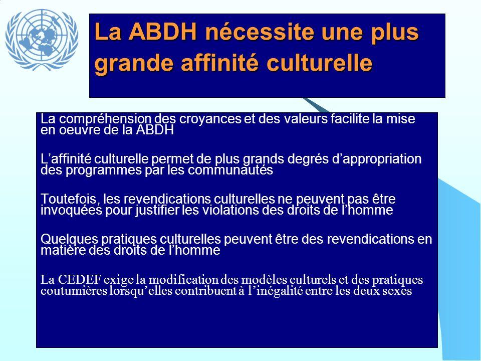 La ABDH nécessite une plus grande affinité culturelle La compréhension des croyances et des valeurs facilite la mise en oeuvre de la ABDH Laffinité cu