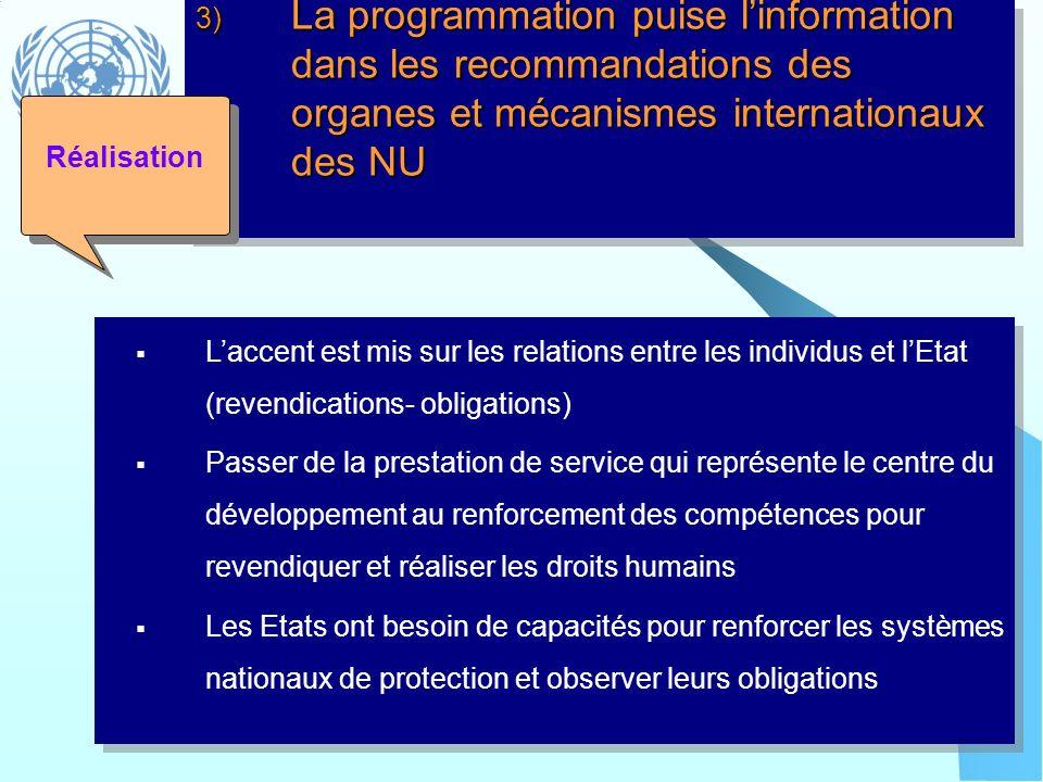 3) La programmation puise linformation dans les recommandations des organes et mécanismes internationaux des NU Laccent est mis sur les relations entr