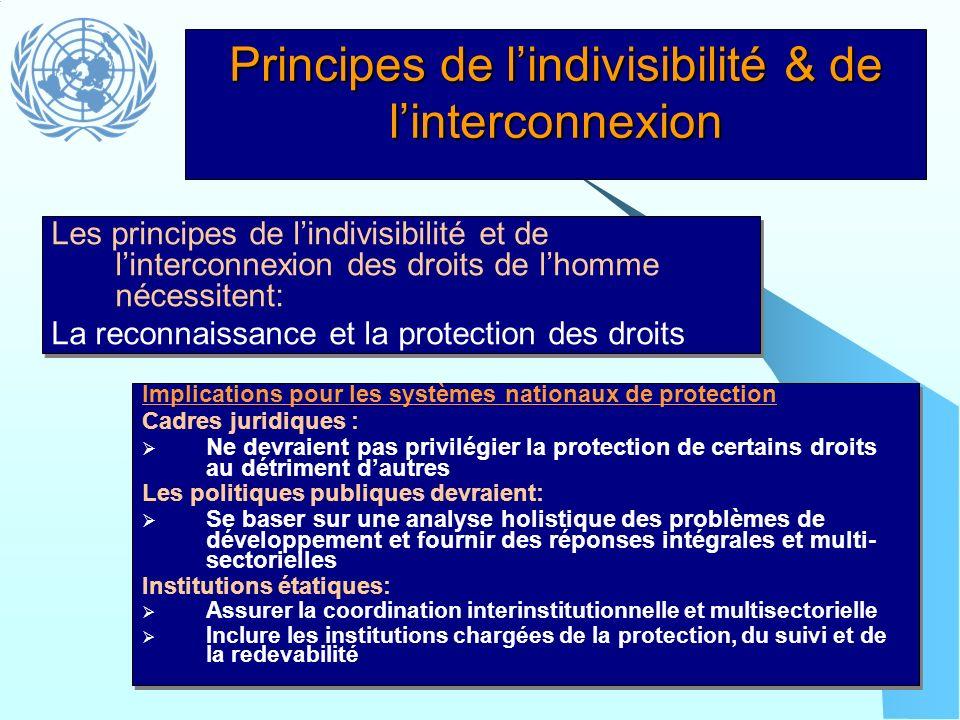 Principes de lindivisibilité & de linterconnexion Implications pour les systèmes nationaux de protection Cadres juridiques : Ne devraient pas privilég