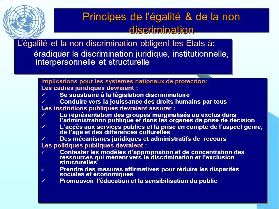 Principes de légalité & de la non discrimination Implications pour les systèmes nationaux de protection: Les cadres juridiques devraient : Se soustrai