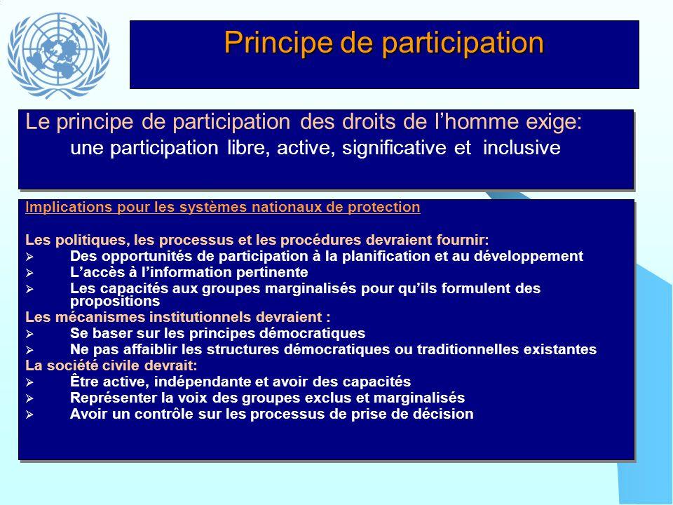 Principe de participation Implications pour les systèmes nationaux de protection Les politiques, les processus et les procédures devraient fournir: De