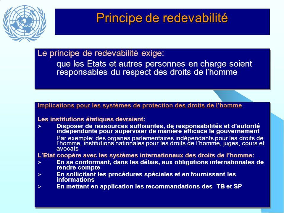 Principe de redevabilité Implications pour les systèmes de protection des droits de lhomme Les institutions étatiques devraient: Disposer de ressource