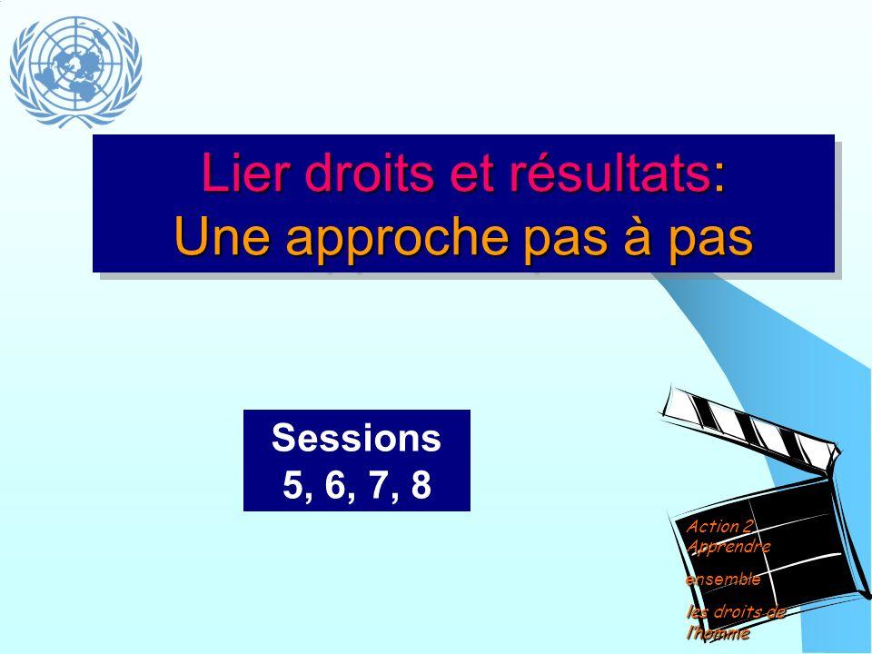 Lier droits et résultats: Une approche pas à pas Sessions 5, 6, 7, 8 Action 2 Apprendre ensemble les droits de lhomme
