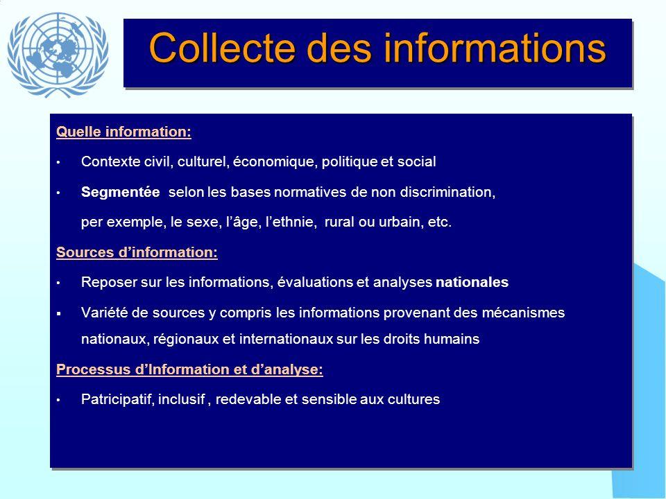 Collecte des informations Quelle information: Contexte civil, culturel, économique, politique et social Segmentée selon les bases normatives de non di
