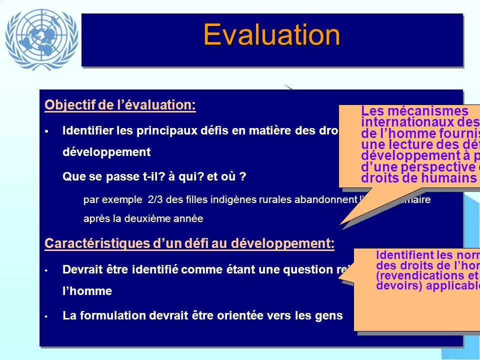 EvaluationEvaluation Objectif de lévaluation: Identifier les principaux défis en matière des droits de lhomme et du développement Que se passe t-il? à