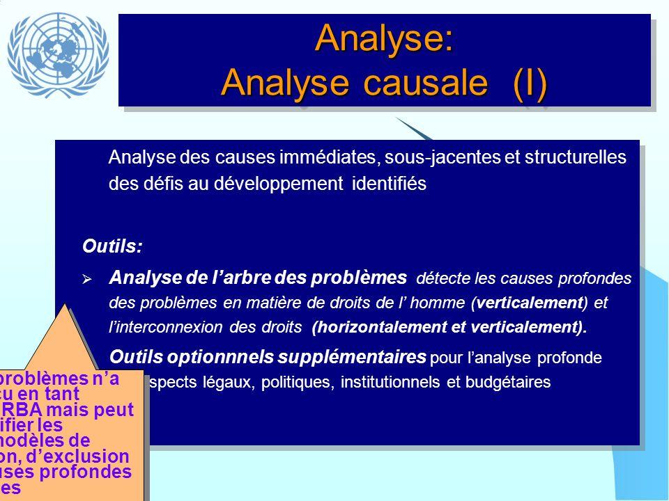 Analyse: Analyse causale (I) Analyse des causes immédiates, sous-jacentes et structurelles des défis au développement identifiés Outils: Analyse de la
