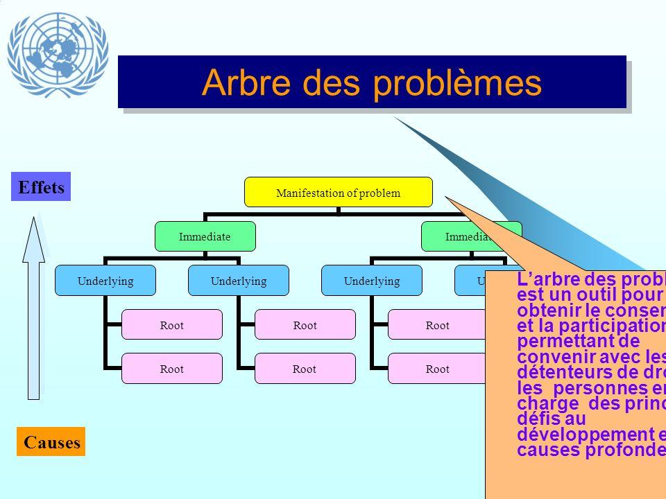Causes Effets Arbre des problèmes Larbre des problèmes est un outil pour obtenir le consensus et la participation permettant de convenir avec les déte