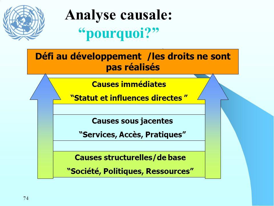 74 Défi au développement /les droits ne sont pas réalisés Causes structurelles/de base Société, Politiques, Ressources Causes sous jacentes Services,