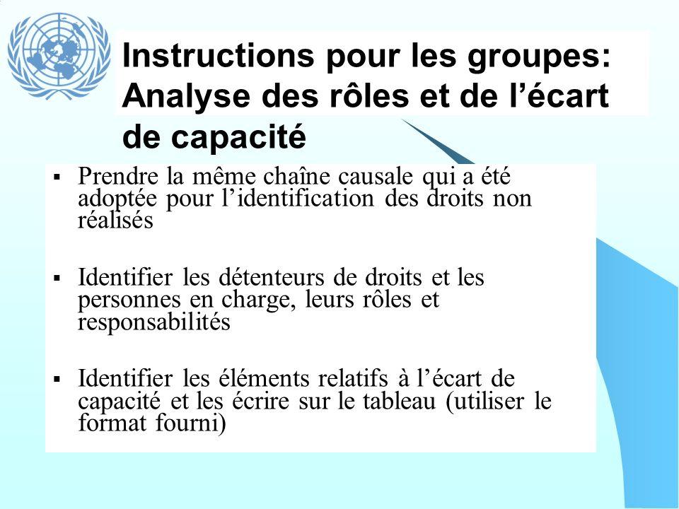 Instructions pour les groupes: Analyse des rôles et de lécart de capacité Prendre la même chaîne causale qui a été adoptée pour lidentification des dr