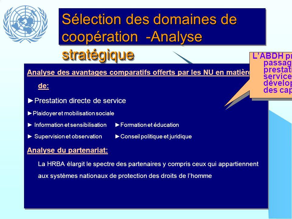 Sélection des domaines de coopération -Analyse stratégique Analyse des avantages comparatifs offerts par les NU en matière de: Prestation directe de s