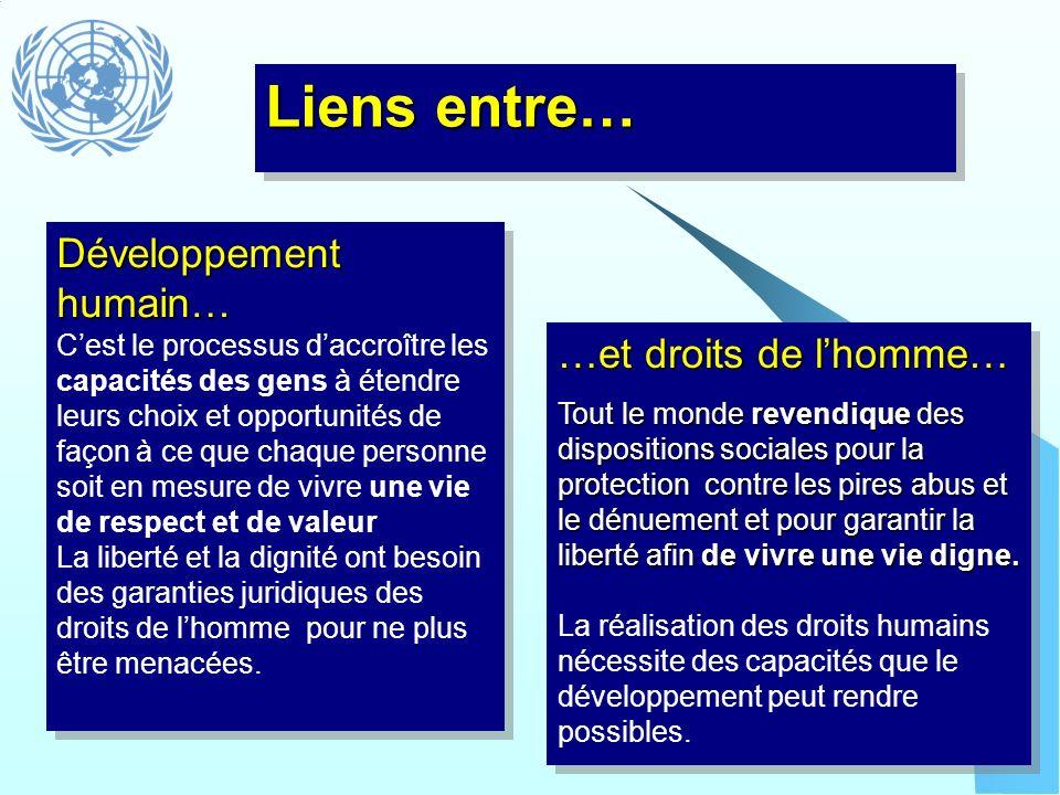 Intégration de laspect genre Evalue les implications de toute action planifiée pour les femmes et les hommes et fait des préocupations des femmes et des hommes une partie intégrante de toutes les phases du processus de programmation Le but ultime étant légalité entre les deux sexes Liens entre… Et des droits humains de la femme - Exigence légale de non discrimination - La CEDEF est lun des traités internationaux fondamentaux des droits de lhomme - les droits humains de la femme sont au centre de lapplication de lABDH - Le but ultime étant latteinte de légalité entre les deux sexes et la réalisation de tous les droits humains pour toutes les femmes et tous les hommes également.