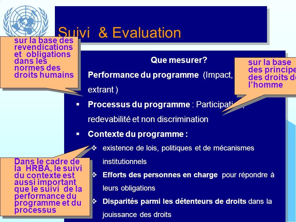 Suivi & Evaluation Que mesurer? Performance du programme (Impact, réalisations, extrant ) Processus du programme : Participation, redevabilité et non