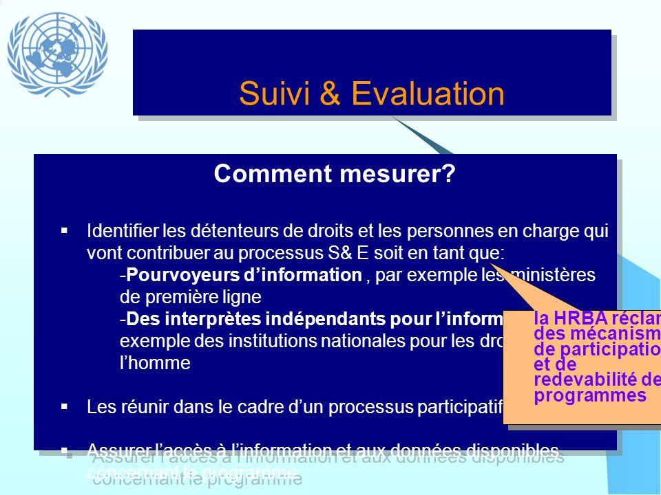 Suivi & Evaluation Comment mesurer? Identifier les détenteurs de droits et les personnes en charge qui vont contribuer au processus S& E soit en tant