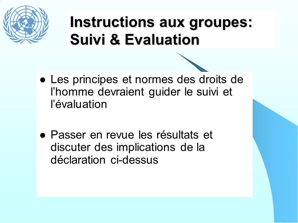 Instructions aux groupes: Suivi & Evaluation Les principes et normes des droits de lhomme devraient guider le suivi et lévaluation Passer en revue les