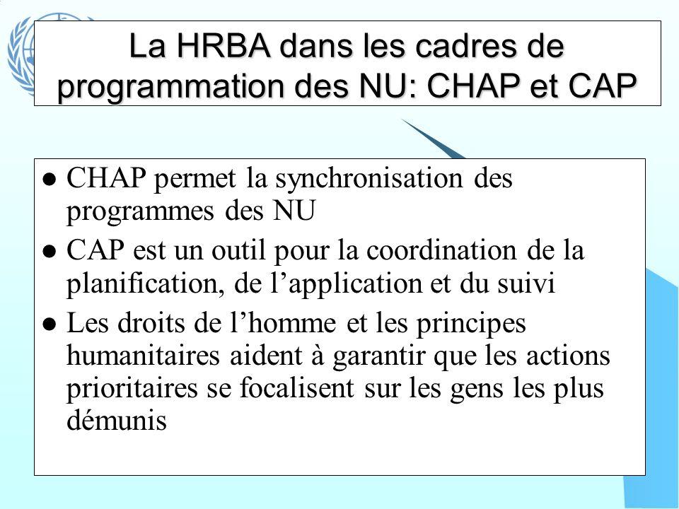La HRBA dans les cadres de programmation des NU: CHAP et CAP CHAP permet la synchronisation des programmes des NU CAP est un outil pour la coordinatio