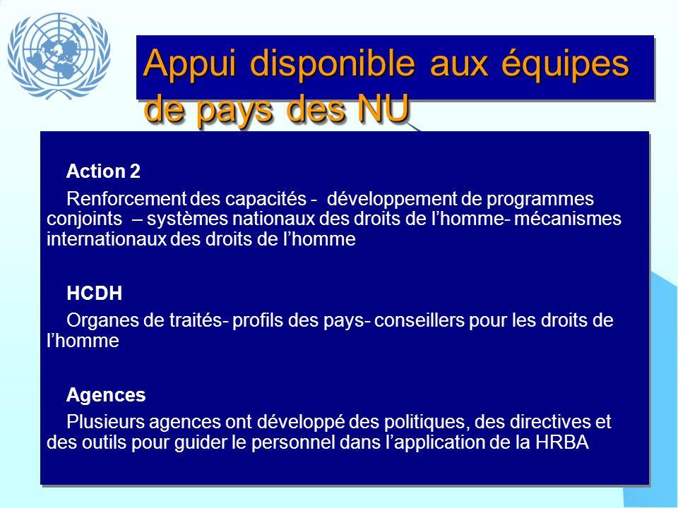 Appui disponible aux équipes de pays des NU Action 2 Renforcement des capacités - développement de programmes conjoints – systèmes nationaux des droit
