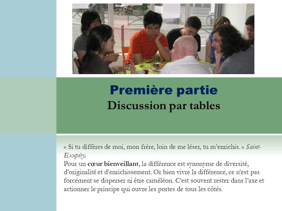 Discussion par tables Première partie Discussion par tables « Si tu diffères de moi, mon frère, loin de me léser, tu menrichis. » Saint- Exupéry. Pour