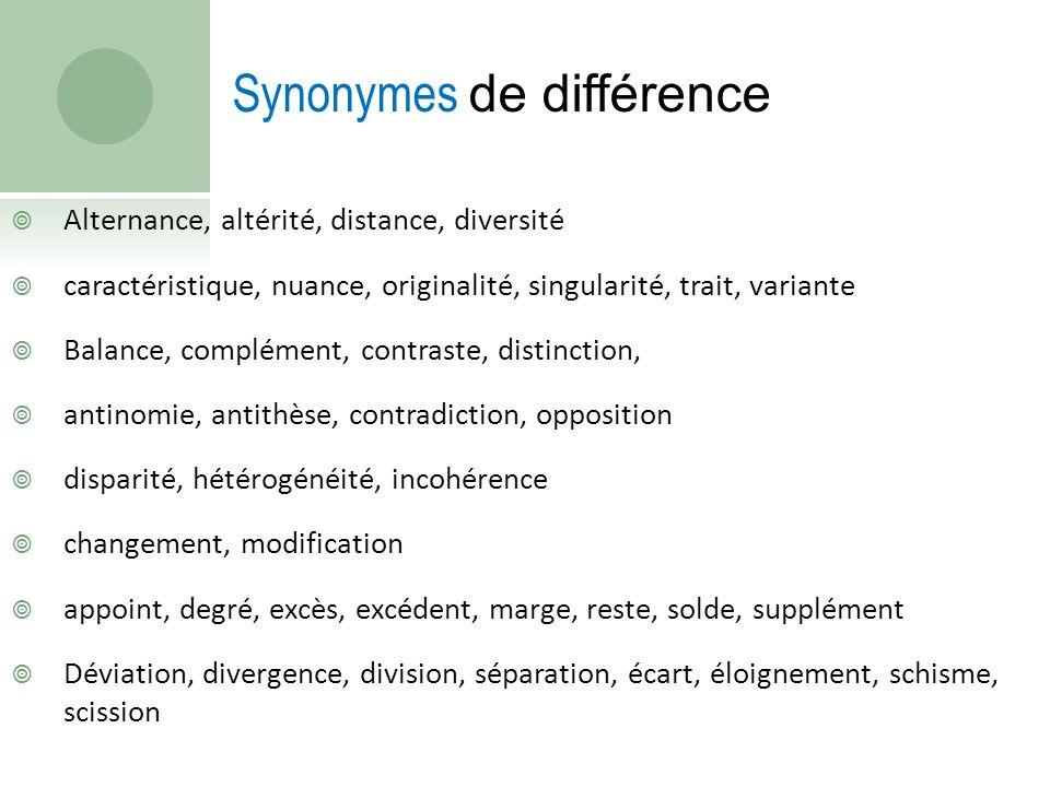 Alternance, altérité, distance, diversité caractéristique, nuance, originalité, singularité, trait, variante Balance, complément, contraste, distincti