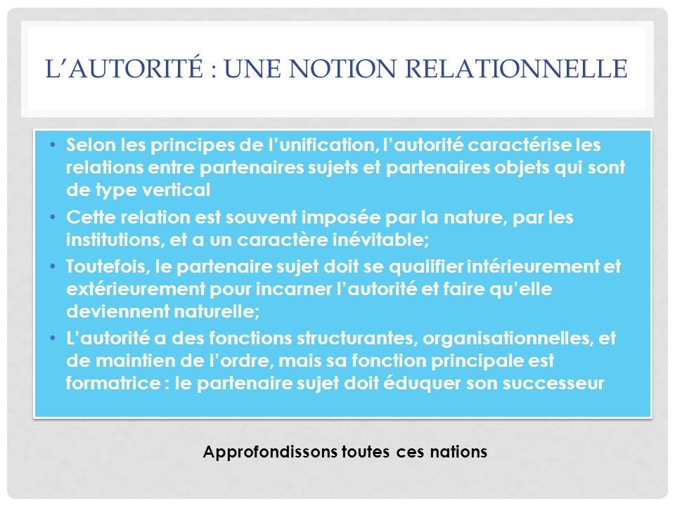 LAUTORITÉ : UNE NOTION RELATIONNELLE Selon les principes de lunification, lautorité caractérise les relations entre partenaires sujets et partenaires