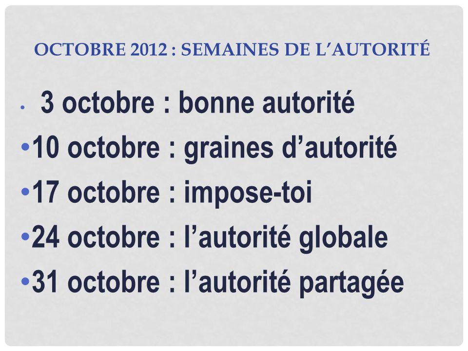OCTOBRE 2012 : SEMAINES DE LAUTORITÉ 3 octobre : bonne autorité 10 octobre : graines dautorité 17 octobre : impose-toi 24 octobre : lautorité globale