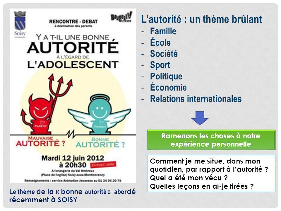 Lautorité : un thème brûlant - Famille - École - Société - Sport - Politique - Économie - Relations internationales Comment je me situe, dans mon quot