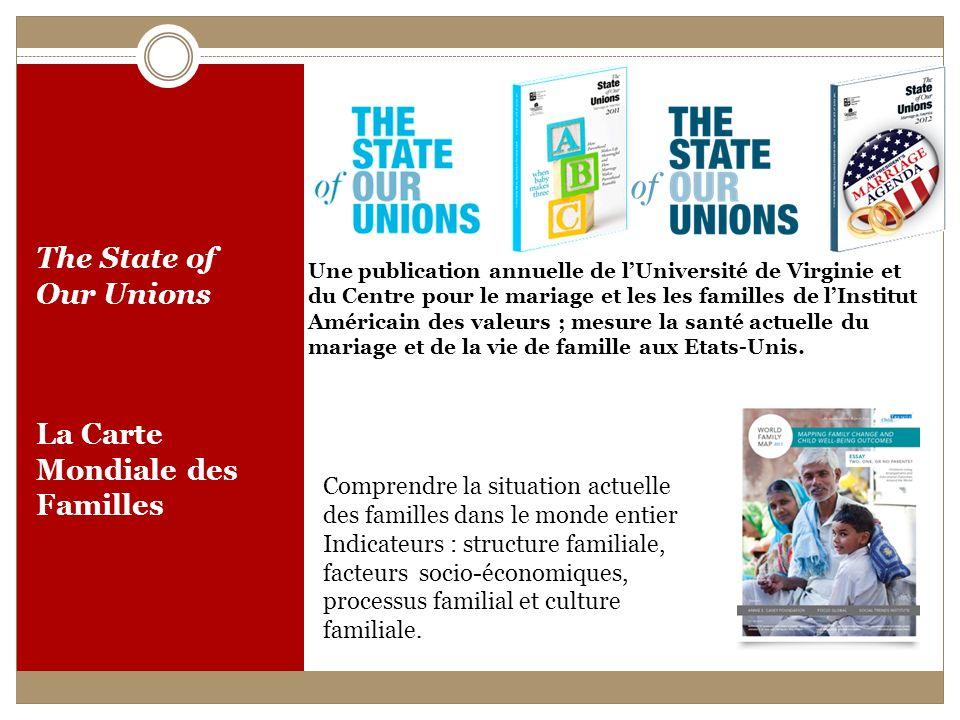 The State of Our Unions La Carte Mondiale des Familles Une publication annuelle de lUniversité de Virginie et du Centre pour le mariage et les les familles de lInstitut Américain des valeurs ; mesure la santé actuelle du mariage et de la vie de famille aux Etats-Unis.