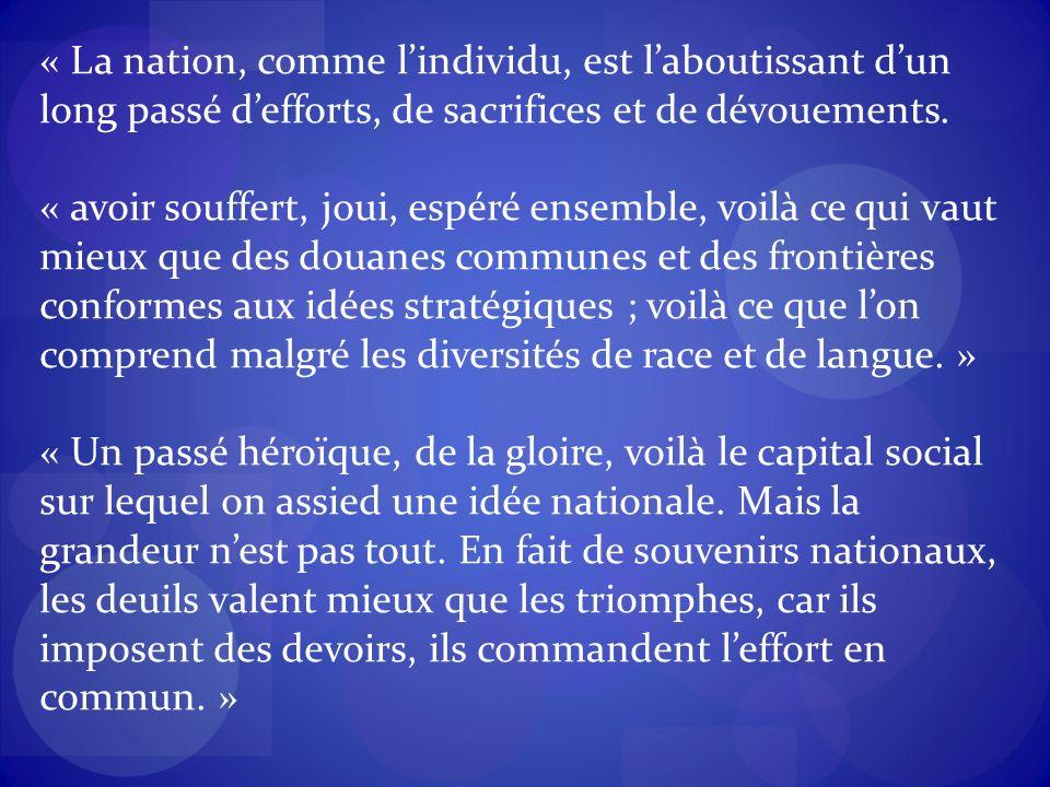 « La nation, comme lindividu, est laboutissant dun long passé defforts, de sacrifices et de dévouements.
