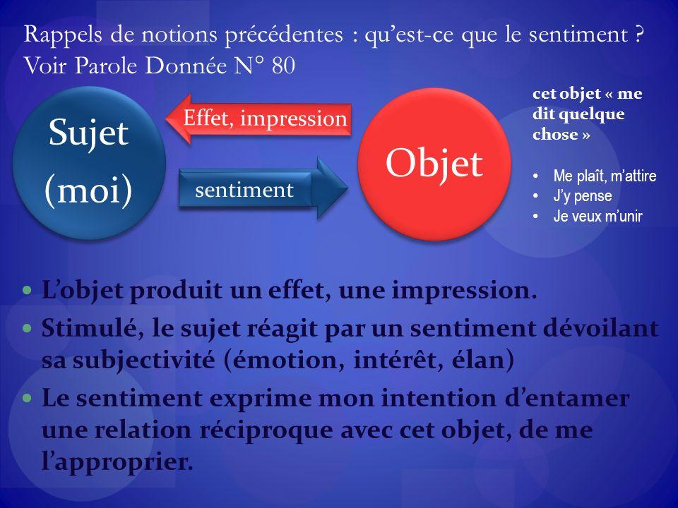 Lobjet produit un effet, une impression.