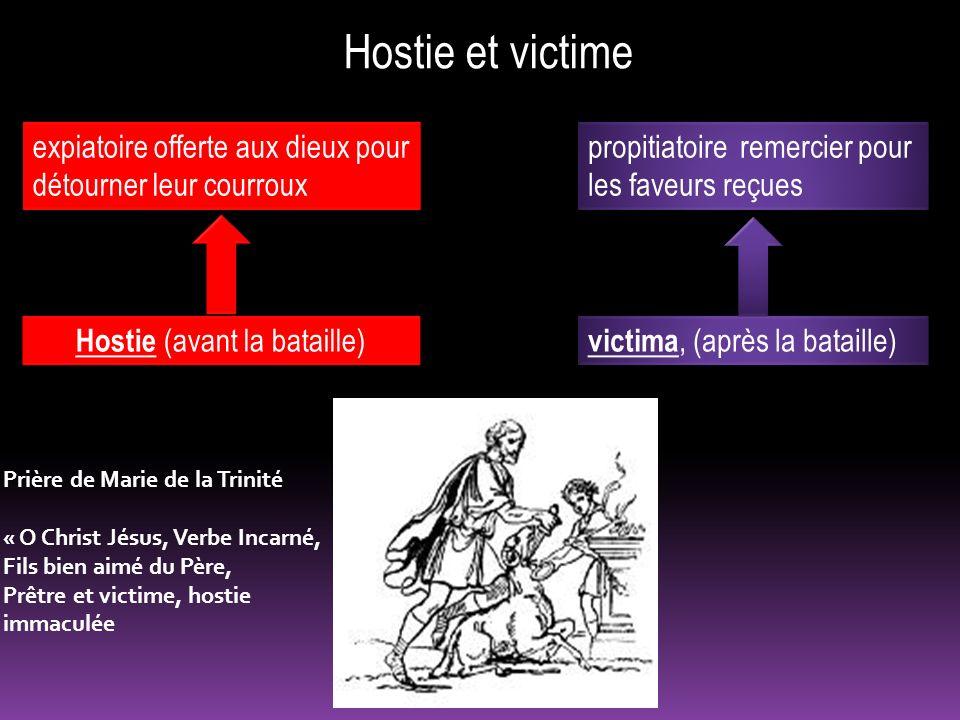 Hostie et victime victima, (après la bataille) Hostie (avant la bataille) expiatoire offerte aux dieux pour détourner leur courroux propitiatoire reme