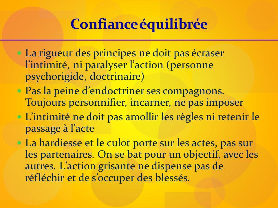 Confiance équilibrée La rigueur des principes ne doit pas écraser lintimité, ni paralyser laction (personne psychorigide, doctrinaire) Pas la peine de