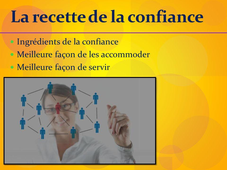 La recette de la confiance Ingrédients de la confiance Meilleure façon de les accommoder Meilleure façon de servir