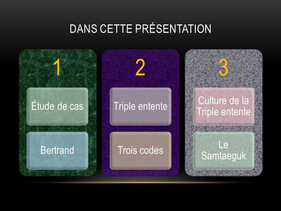 DANS CETTE PRÉSENTATION 1 Étude de casBertrand 2 Triple ententeTrois codes 3 Culture de la Triple entente Le Samtaeguk