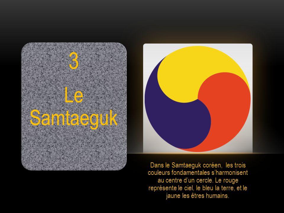 3 Le Samtaeguk Dans le Samtaeguk coréen, les trois couleurs fondamentales sharmonisent au centre dun cercle. Le rouge représente le ciel, le bleu la t