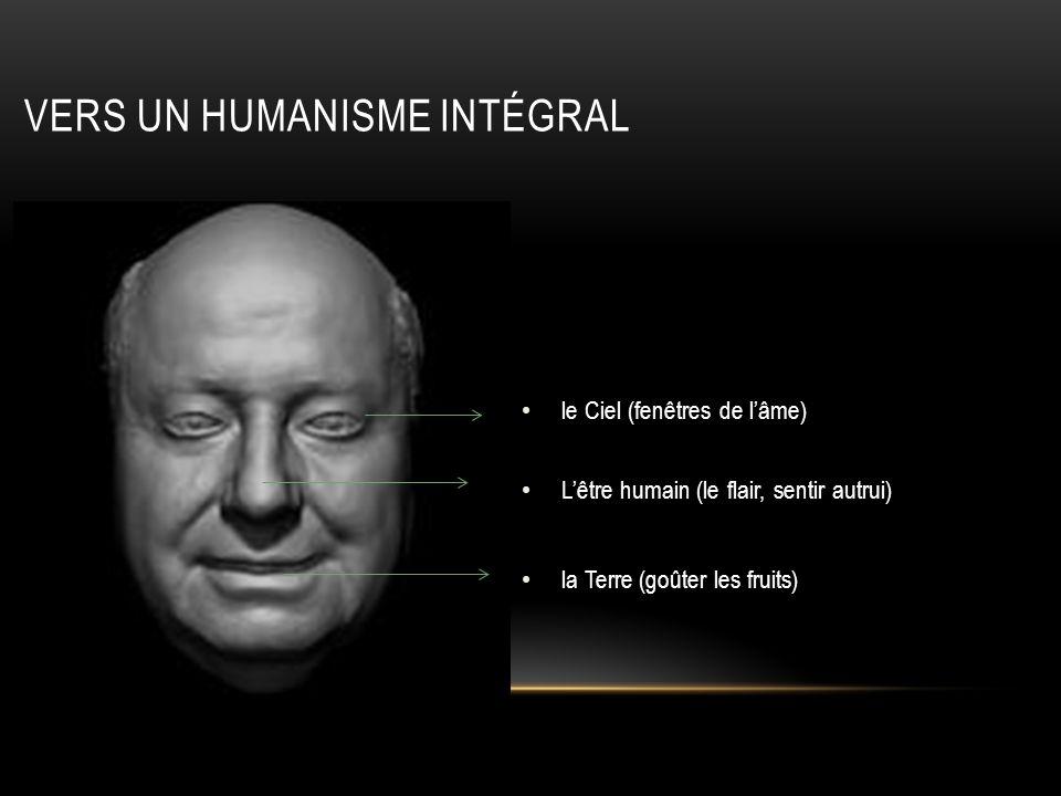 le Ciel (fenêtres de lâme) Lêtre humain (le flair, sentir autrui) la Terre (goûter les fruits) VERS UN HUMANISME INTÉGRAL