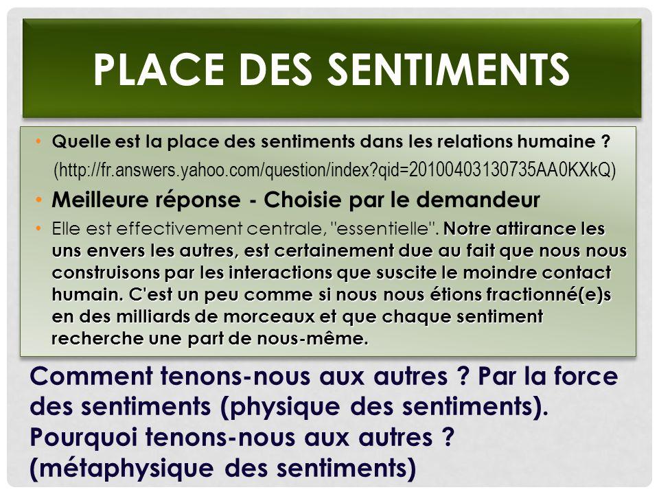 PLACE DES SENTIMENTS Quelle est la place des sentiments dans les relations humaine ? (http://fr.answers.yahoo.com/question/index?qid=20100403130735AA0