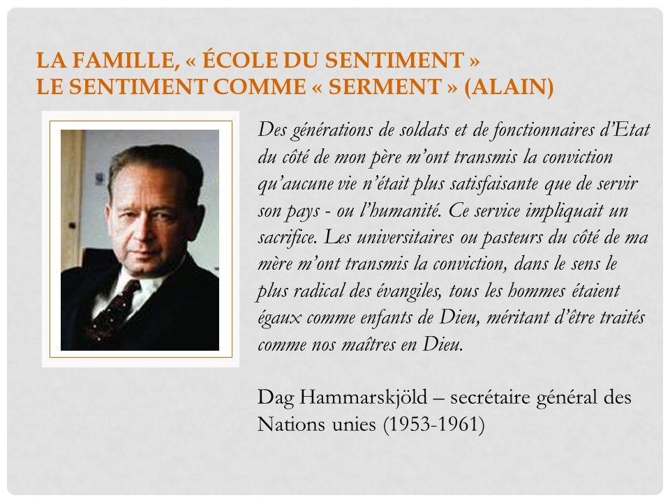 LA FAMILLE, « ÉCOLE DU SENTIMENT » LE SENTIMENT COMME « SERMENT » (ALAIN) Des générations de soldats et de fonctionnaires dEtat du côté de mon père mo
